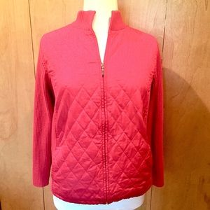 1X Bright red quilted zip front sweater jacket
